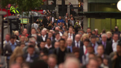 Businesspeople on a busy street in London Footage