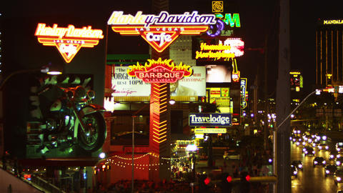 Neon sign of Harley Davidson Cafe on Las Vegas strip Footage