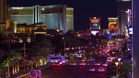 High-angle footage of Las Vegas strip at night Footage