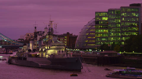 Anchored by the city hall in London Footage