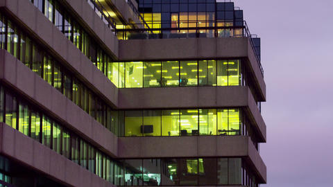 Downward moving shot of an office building Footage