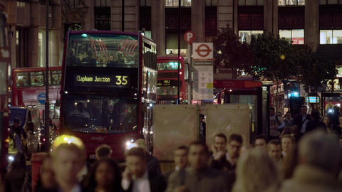 Busy London street in the evening Footage
