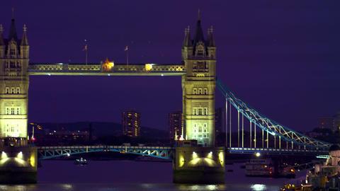 Lit Tower Bridge in darkness Footage