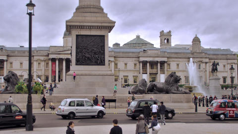 LONDON - OCTOBER 11: Unidentified people walk around at Trafalgar Square on Octo Footage
