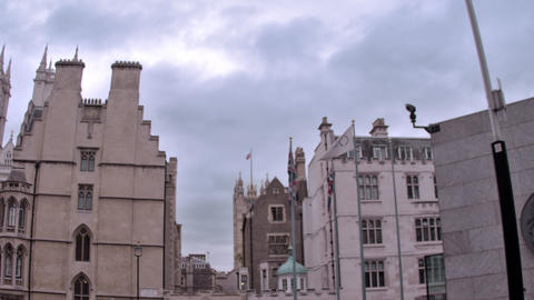 Low angle view of tall buildings with steeples in London, England Footage