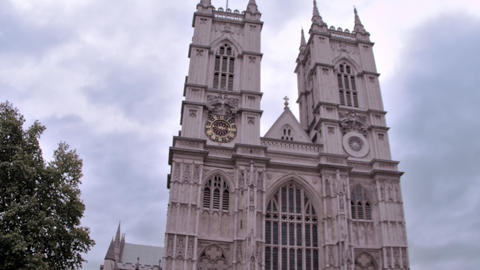 Low angle view of Westminster abbey church in London, England Footage
