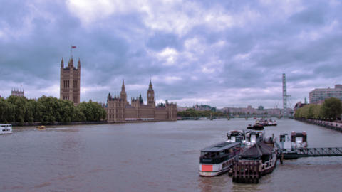 View of Westminster palace from River Thames in London, England Footage
