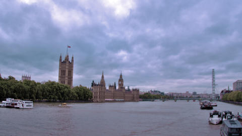 Westminster palace from across River Thames in London, England Footage