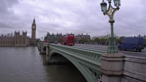LONDON - OCTOBER 11: Downward panning view, unidentified people cross Westminste Footage