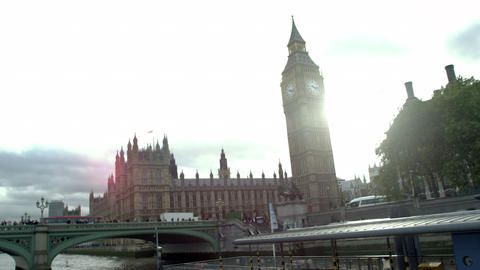 Zoom out view of Westminster palace and Westminster bridge in London, England Footage