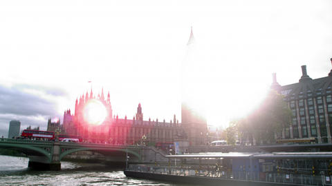 Sun shines from behind Big Ben in London, England Footage