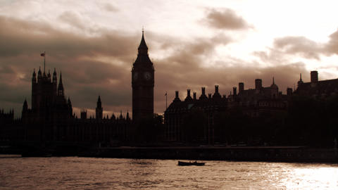 Westminster palace in the evening in London, England Footage
