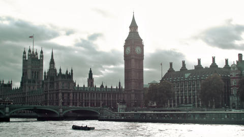 View of Westminster palace and bridge in London, England Live Action