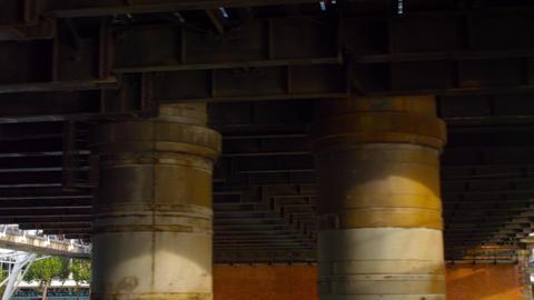 Under Hungerford bridge in London, England Footage