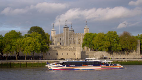 Ship passes in front of tower of London in London, England Footage