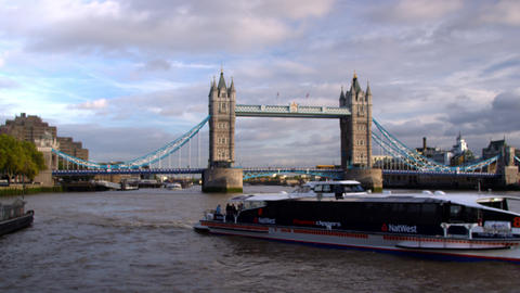 Big boat passes in front of Tower Bridge in London, England Footage