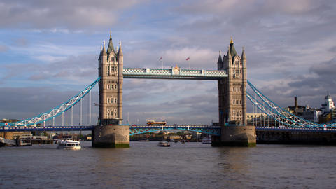 Large boat passes under Tower Bridge in London, England Footage