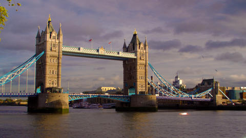 Panning view of Tower bridge and River Thames in London, England Footage