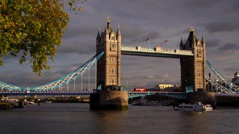 Panning view of dark clouds behind Tower Bridge and River Thames in London, Engl Footage