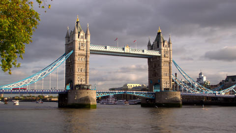 Tower Bridge time lapse in London, England Footage