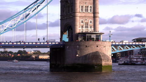 Close up view of base of tower on Tower Bridge in London, England Live Action