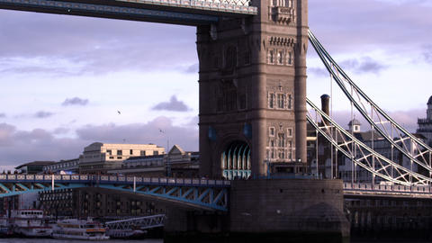 Upward pan of one of the towers on Tower Bridge in… Stock Video Footage