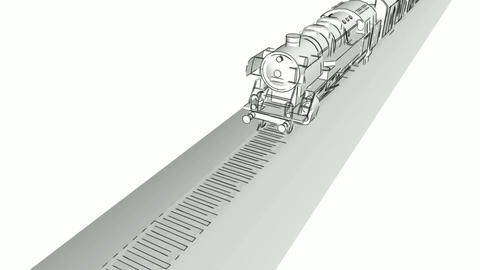 Steam engine train monochrome sketch animation Animation