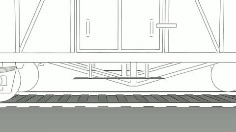Old steam engine train close-up outline sketch animation Animation