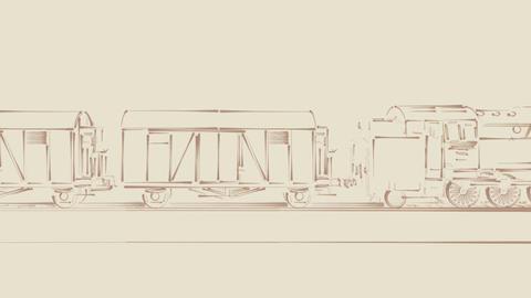 Old steam train outline cartoon 2D animation Animation