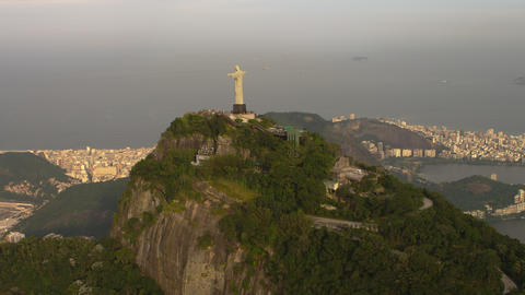 Lagoa Rodrigo de Freitas, Rio, and Cristo from an aerial perspective Footage
