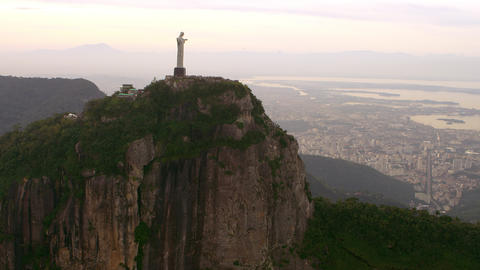 Brazilian Highland geology and Christ the Redeemer statue - aerial footage Footage