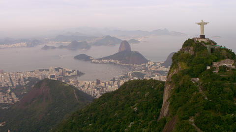 Aerial footage of various cities, shorelines, and landmarks - Rio de Janeiro, Br Footage