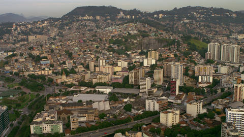 Aerial video mapping out Rio de Janeiro, Brazil Footage