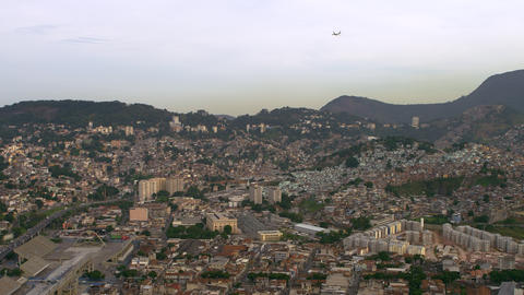 Aerial shot of airplane and cityscape - Rio de Janeiro, Brazil Footage