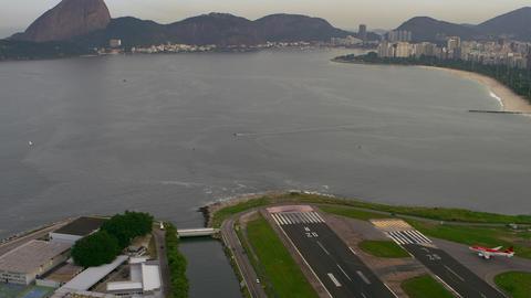 Aerial shot of airplane taxiing - Rio de Janeiro, Brazil Live Action