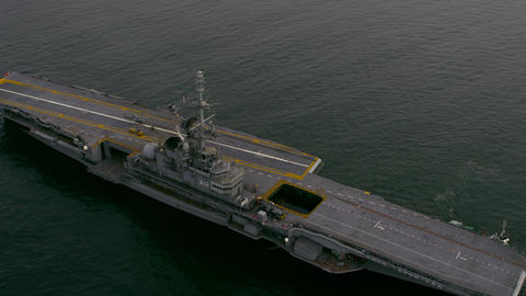 Aerial footage of Aircraft Carrier in Atlantic Ocean Footage