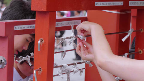 Omikuji - bad fortune papers at a Buddhist temple or Shinto Shrine - TOKYO Live Action