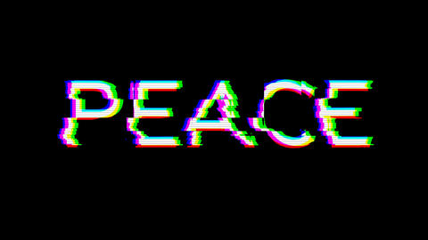 From the Glitch effect arises text PEACE. Then the TV… Stock Video Footage