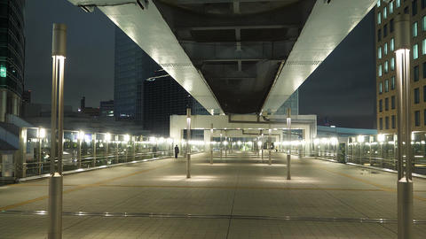 Modern Shimbashi Station in Tokyo at night - impressive architecture - TOKYO Live Action