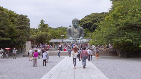Most famous landmark in Kamakura - The Great Buddha Daibutsu - TOKYO, JAPAN - Live Action
