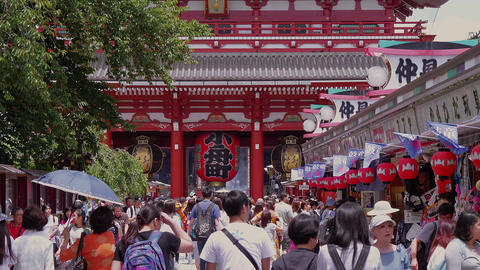 Famous landmark - The Sensoji Asakusa Temple in Tokyo - TOKYO, JAPAN - JUNE 19 Live Action