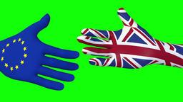 Handshake between EU and UK - 3d looping animation on green Footage