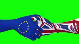 Handshake between EU and UK - 3d looping animation on green Stock Video Footage
