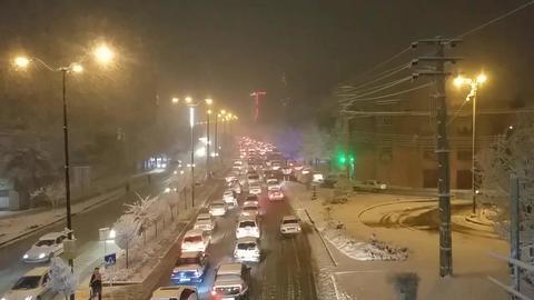 Beautiful winter Highway view Footage