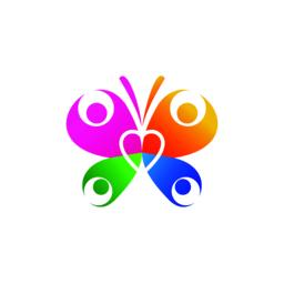 Butterfly logo health family heart icon vector beauty wellness concept business symbol illustration Vector