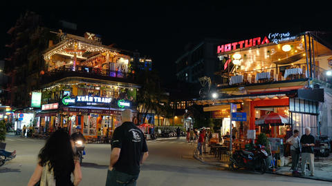 Night life at backpacker area in Hue Footage