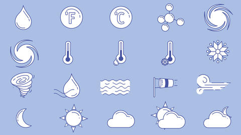 Icons of different weather in blue white colors on the alpha channel Animation