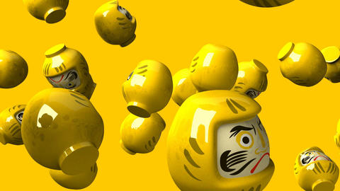 Yellow daruma dolls on yellow background Animation