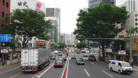 Street traffic in Tokyo downtown - driving through Tokyo - TOKYO, JAPAN - JUNE Live Action
