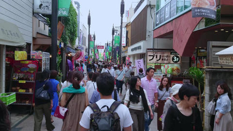 Most famous street in Kamakura - the popular Komachi Street - TOKYO, JAPAN - Live Action